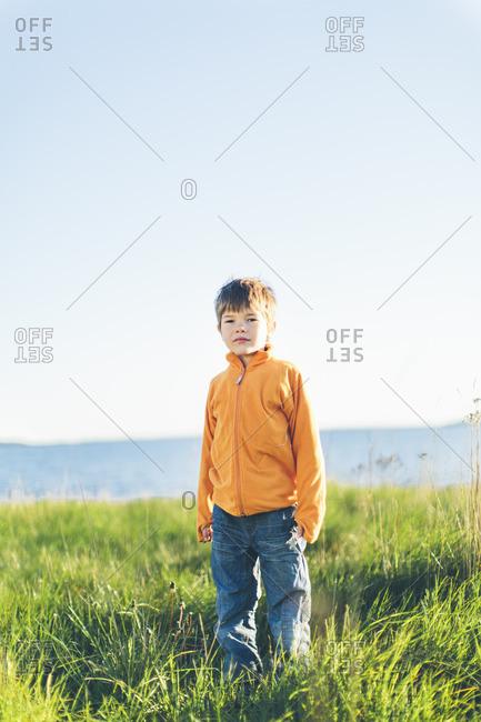 Sweden, Blekinge, Karlskrona, Boy standing in grass