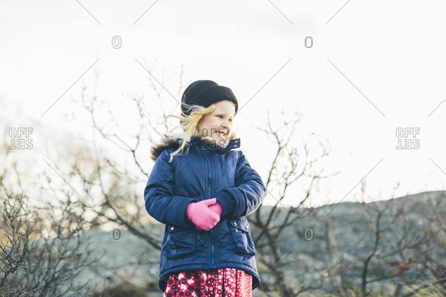 Sweden, Blekinge, Karlkskrona, Salto, Girl smiling