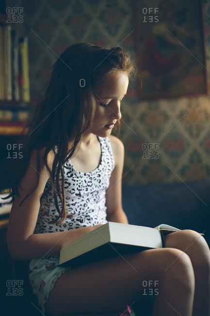 Sweden, Smaland, Mortfors, Portrait of reading girl