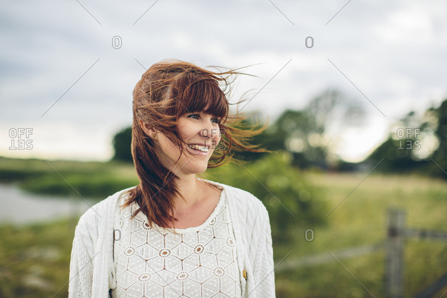 Sweden, Blekinge, Karlskrona, Portrait of smiling woman