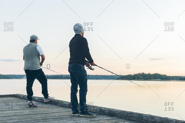 Sweden, Blekinge, Karlskrona, Two men fishing