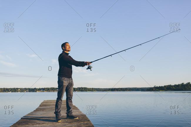 Sweden, Blekinge, Karlskrona, Man fishing