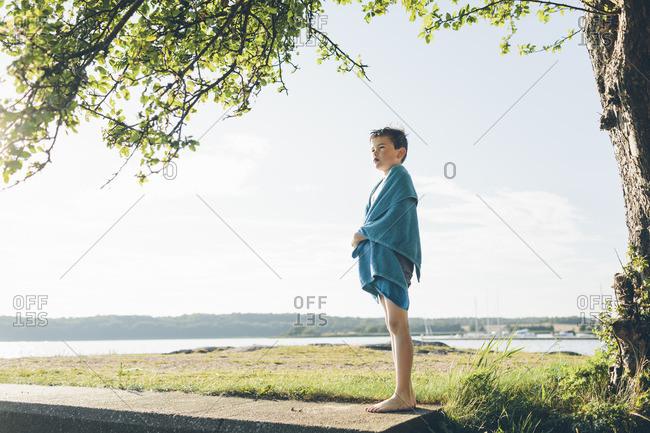 Sweden, Blekinge, Hallarum, Boy looking at view