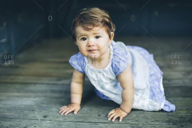 Sweden, Smaland, Mortfors, Portrait of baby girl