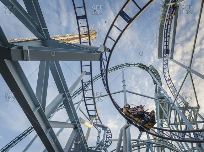 Sweden, Stockholm,  - August 12, 2014: Djurgarden, Grona Lund, Low angle view of rollercoaster