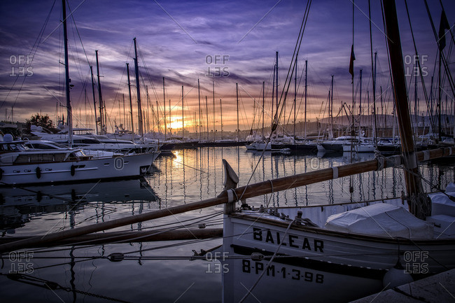 Spain, Majorca,  - December 17, 2015: Palma de Mallorca, Yachts in harbour at sunset
