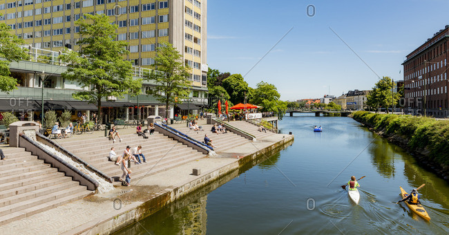 Sweden, Skane,  - July 11, 2015: Canal in city on sunny day