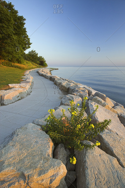 Stone path along the shore of Lake Ontario, Niagara-on-the-Lake, Ontario, Canada