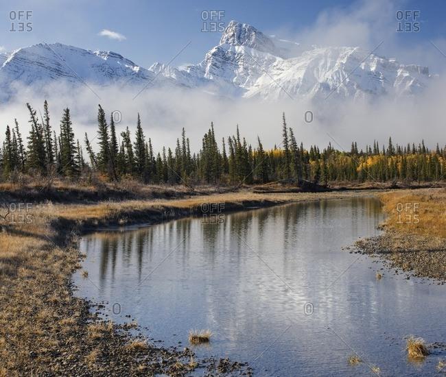 North Saskatchewan River with Mount Peskett in the background, Kootenay Plains, Bighorn Wildland, Alberta, Canada