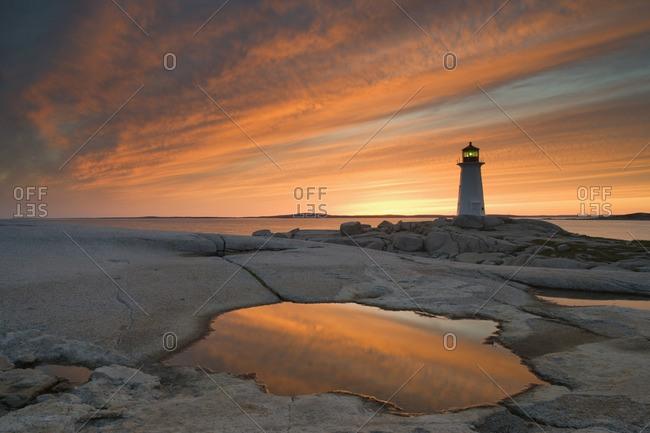 Peggy's Cove Lighthouse at dusk, Peggy's Cove, Nova Scotia, Canada