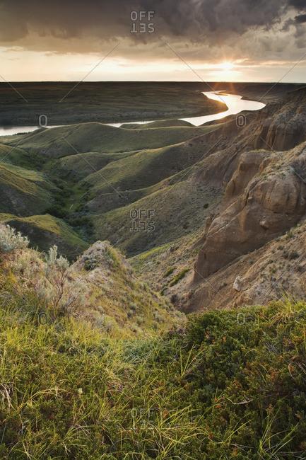 The South Saskatchewan River at the \'Big Bend\' near Leader, Saskatchewan, Canada