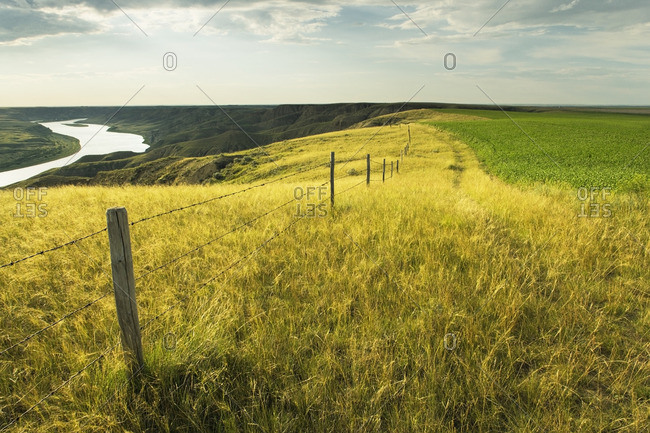 The South Saskatchewan River at the 'Big Bend' near Leader, Saskatchewan, Canada