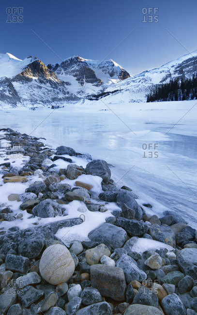 Mount Athabasca and Mount Andromeda and Sunwapta River at Columbia Icefields, Jasper National Park, Alberta, Canada