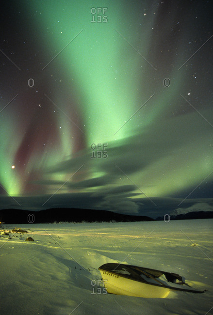 Canada - March 19, 2009: Aurora Borealis or Northern Lights, Yukon