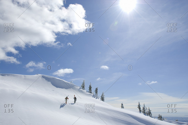 Skiers below First Pump Peak at Mt Seymour Mt Seymour Provincial Park Vancouver BC Canada