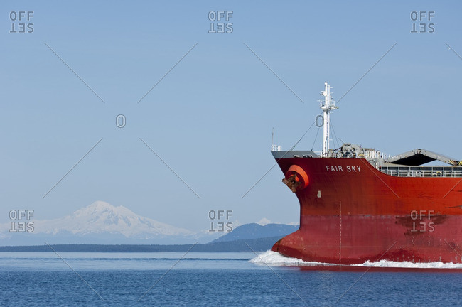 British Columbia, Canada - April 6, 2009: Cargo ship near Victoria, British Columbia, Canada