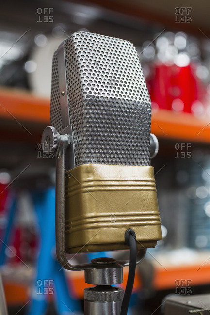 Close-up of microphone in recording studio