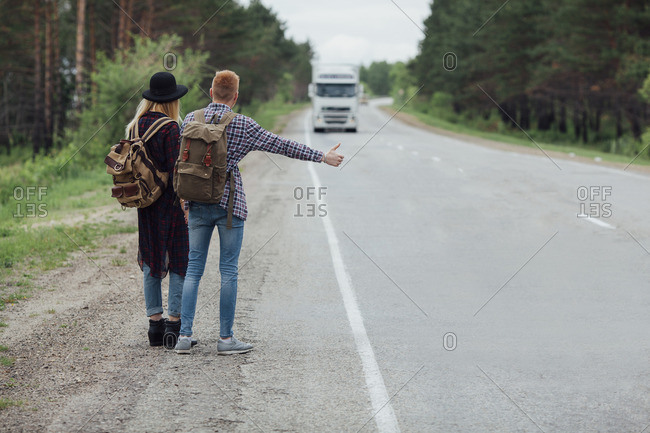 Hitchhikers By Side Of Road >> Hitchhiker Stock Photos Offset