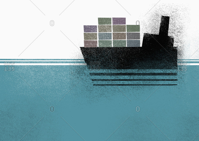 Illustration of cargo ship moving on sea