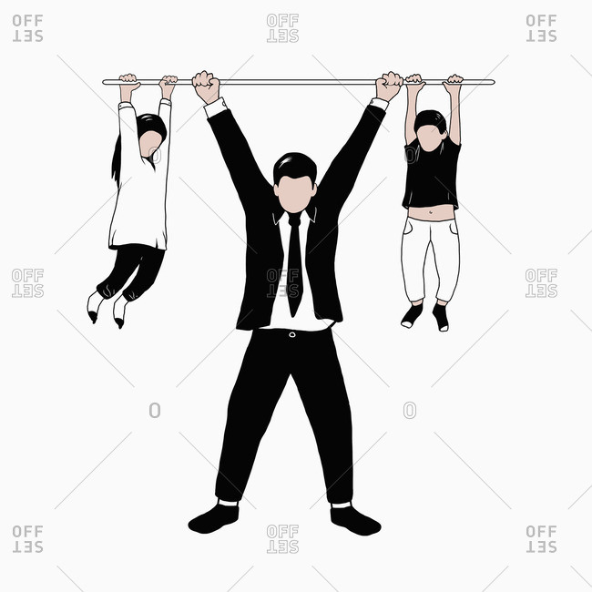 Illustration of man holding bar with hanging girl and boy against white background