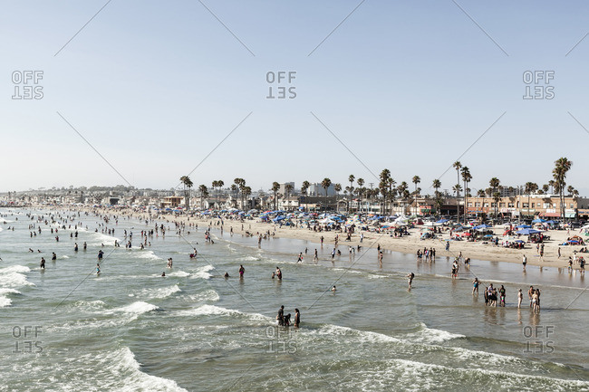 Newport Beach, California, USA - October 30 2016: People on beach against clear sky, Newport Beach, California, USA
