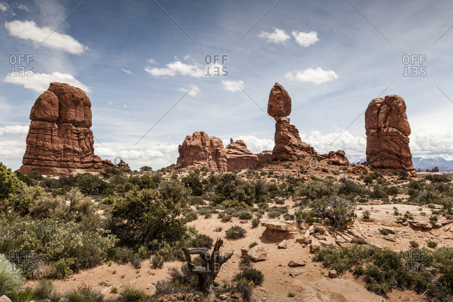 Scenic view of rock formations in landscape, Arches National Park, Moab, Utah, USA