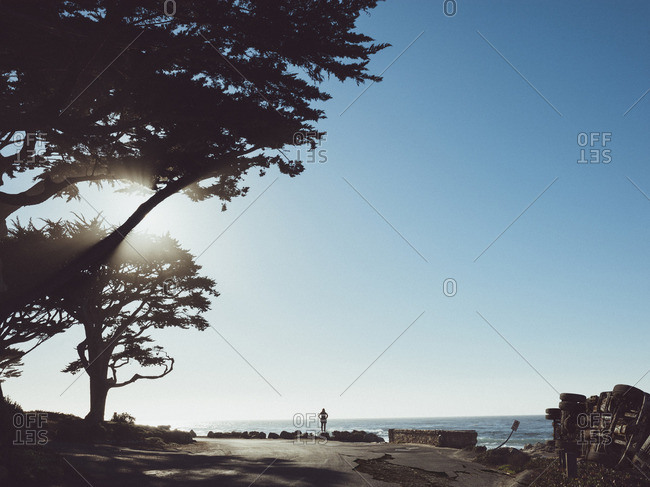 Damaged car on roadside against clear blue sky, Carmel By The Sea, California, USA