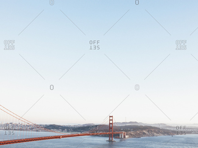 Golden Gate Bridge over San Francisco Bay against clear sky, California USA