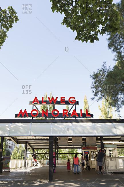 Seattle, Washington - August 14, 2016: Alweg monorail station