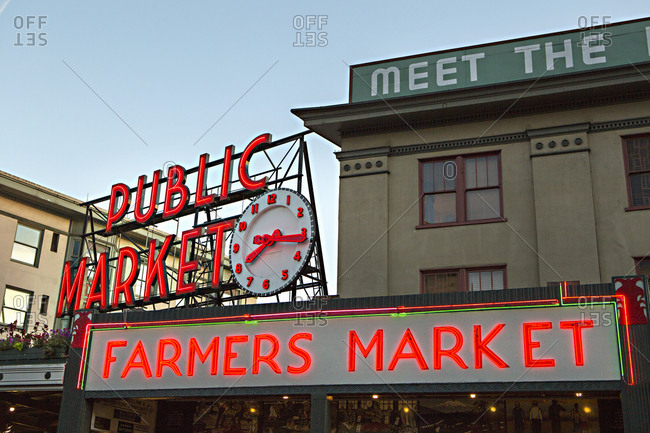 Seattle, Washington - August 14, 2016: Exterior of Pikes Place Market