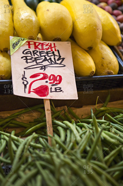 Seattle, Washington - August 15, 2016: Produce in Pikes Place market