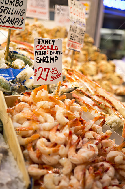 Seattle, Washington - August 15, 2016: Shrimp in Pikes Place market