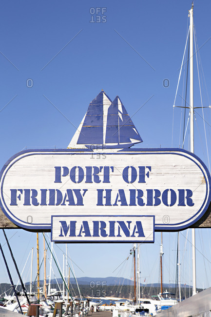 Friday Harbor, Washington - August 16, 2016: Sign for a seaside port