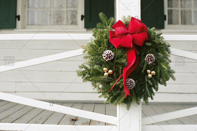Christmas wreath outside home