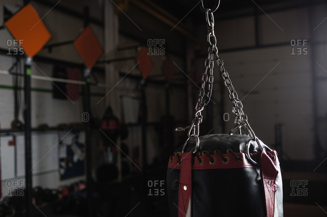 Punching bag for boxing or kick boxing sport in fitness studio