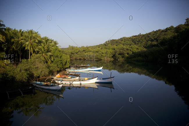 Goa, India - October 21, 2016: Fish boat on a river in the jungle