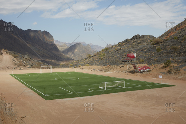 Bald Sayt, Oman  - January 4, 2016: Synthetic football field in the middle of the mountains