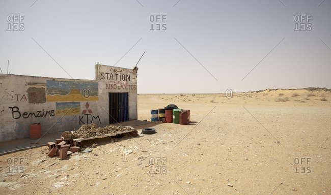 Tatauine, Tunisia - October 21, 2016: A gas station at the border of the desert