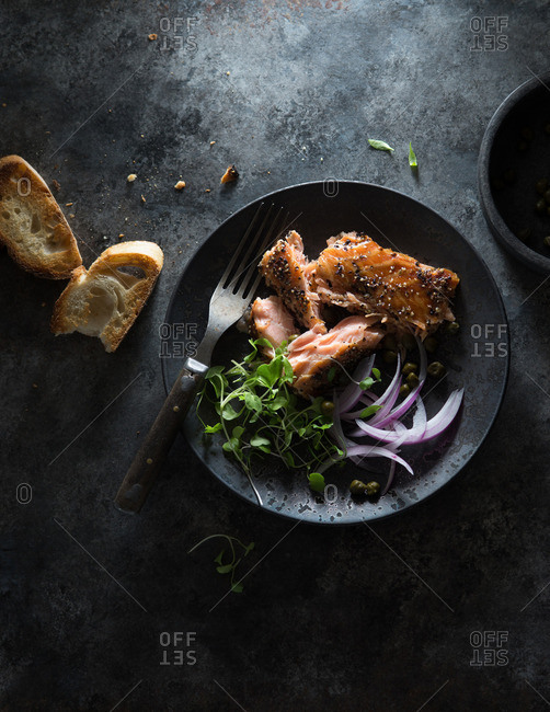 Smoked Salmon with Greens, Red Onion and Capers