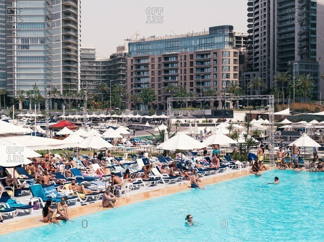 Beirut, Lebanon - May 14, 2016: Tourists at a hotel pool in Beirut
