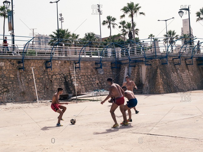 Beirut, Lebanon - May 14, 2016: Young men playing soccer