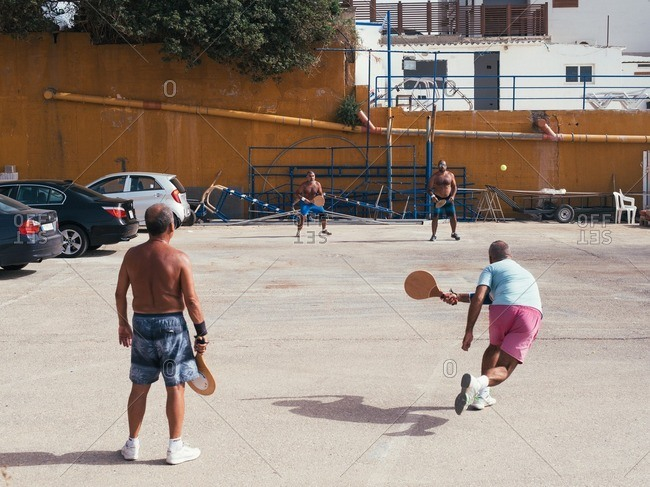 Beirut, Lebanon - May 14, 2016: Group of men playing pickleball