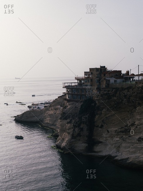 Restaurant on the Raouch_ coastline in Beirut, Lebanon