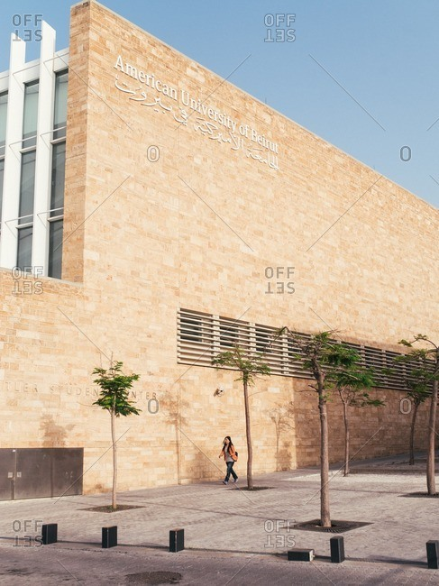 Beirut, Lebanon - May 14, 2016: Woman walking by the American University of Beirut