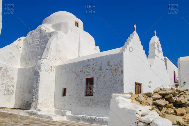 Traditional Greek orthodox church in Chora, Mykonos island, Greece