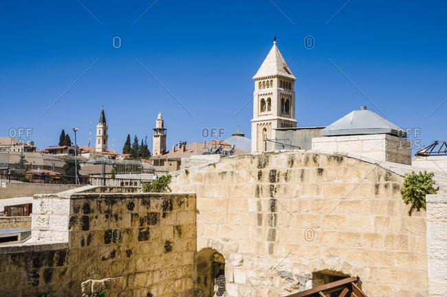 Tops of buildings in old town Jerusalem, Israel