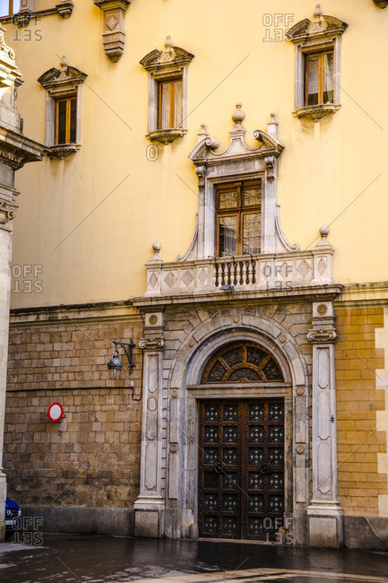 Barcelona, Spain - December 11, 2015: Exterior of a building in Barcelona