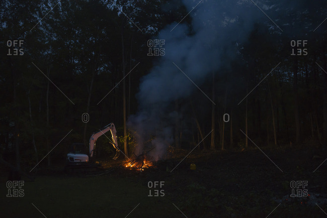 Nighttime bonfire by a forest