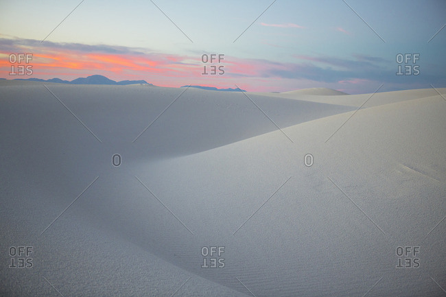 Colorful sunset at White Sands National Monument, Alamogordo, New Mexico