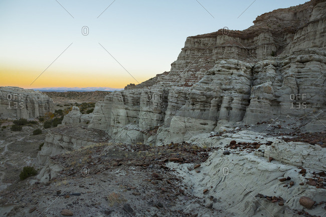 Rock formations at Plaza Blanca at sunset in Abiquiu, New Mexico